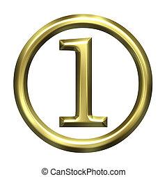 1, זהוב, מספר, 3d