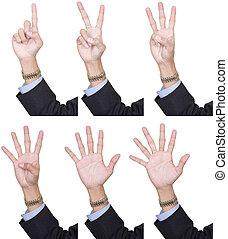1, לספור, אצבעות, אוסף, 6