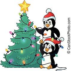 1, תימה, פנגווינים, עץ, חג המולד