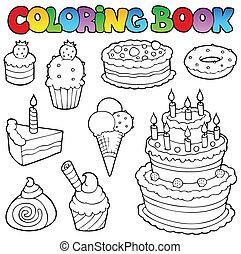 1, ケーキ, 着色, 様々, 本
