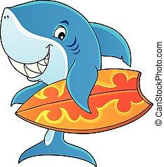 1, サメ, 主題, イメージ, サーファー
