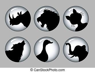 &, 1, シルエット, 黒, 動物, 白