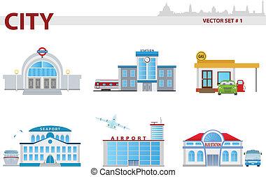 1, セット, 公衆, 建物。