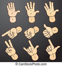 1, セット, 手