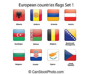 1, セット, 旗, ヨーロッパ, 国