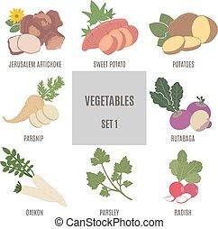 1, セット, vegetables.
