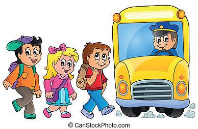 1, バス, 学校, イメージ, topic