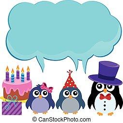 1, パーティー, 主題, ペンギン, コピースペース