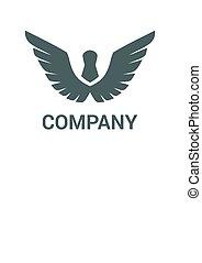 1, ロゴ, デザイン, 翼
