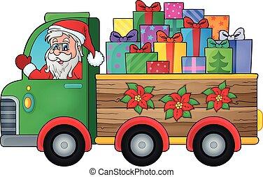 1, 主題, トラック, クリスマス, イメージ