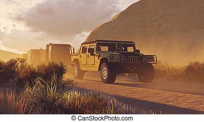 1, 军方, 峡谷, 道路, 车队