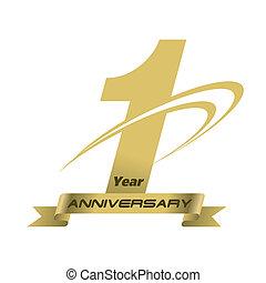 1, 年, 週年紀念, 創造性, 概念, 矢量