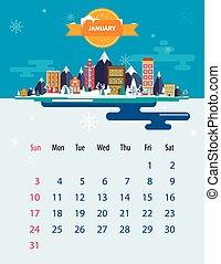 1 月, カレンダー