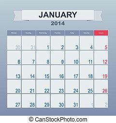 1 月, カレンダー, monthly., 2014, スケジュール