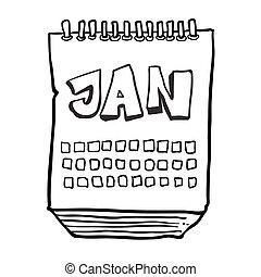 1 月, 提示, 月, 黒, freehand, 引かれる, カレンダー, 白, 漫画