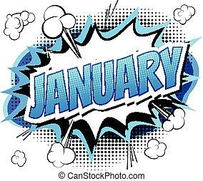 1 月, -, 漫画本, スタイル, 単語