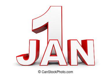 1 月, 1., 3d, テキスト, 白, バックグラウンド。