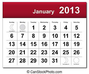 1 月, 2013, カレンダー