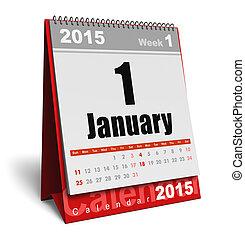 1 月, 2015, カレンダー