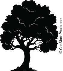 1, 木, シルエット, 形づくられた