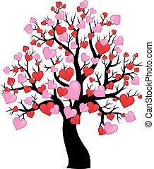 1, 木, 主題, シルエット, 心