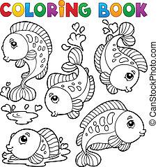 1, 本, fish, 着色, 主題