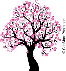 1, 樹, 主題, 黑色半面畫像, 開花