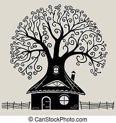 1, 樹, 黑色半面畫像