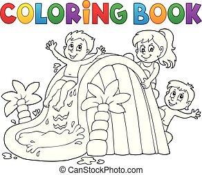 1, 着色, 子供, 水スライド, 本