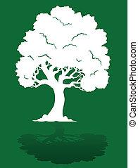 1, 緑の白, 木, 背景
