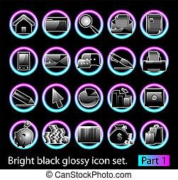 1, 集合, 黑色, 有光澤, 圖象