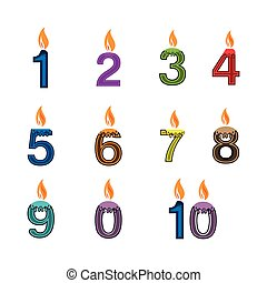 1-10, geburstag, satz, kerze, ikone