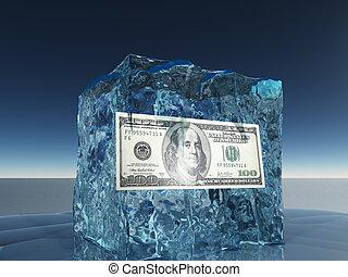 1 100 δολάριο λογαριασμός , παγωμένος , μέσα , πάγοs