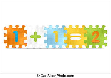 1 1=2 written with alphabet puzzle