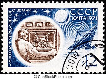 1, 17, envoi, lunokhod, sol, moon., dos, analyse, lune, 322, contrôle, débarqué, jours, images, opéré, novembre, 1970, terrestre
