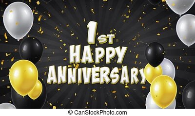 1. 1st Happy Anniversary Black Text Greeting, Wishes,...