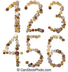 1-2-3-4-5-6, alfabeto, letras, de, a, moedas