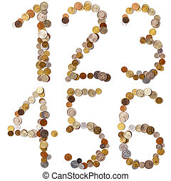 1-2-3-4-5-6 alphabet letters from the coins of different...