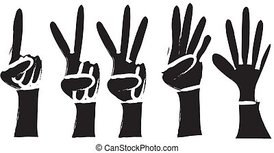 1, 2, 3, 4, 5 Silhouette Hands - simple drawing of ...