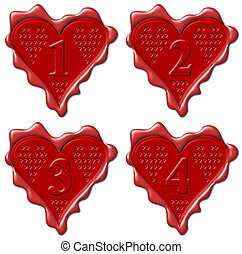1, 2, 3, 4 heart - red wax seal collection