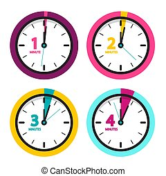 1 2 3 4 Minutes Clock. Vector Time Icons Set Isolated on White Background.