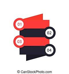 1, 2, 3, 4 steps, timeline, infographics