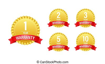 1, 2, 3, 5, 10 Year warranty. Support service icon Vector stock illustration