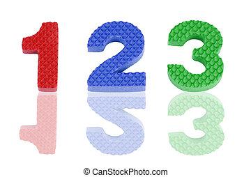 1 2 3 numbers in foam