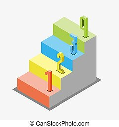 1 2 3 steps stair isometric view, infographic concept, ...
