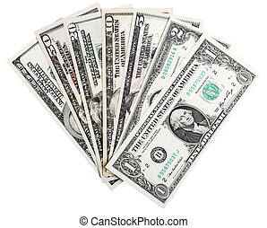 1, 2, 5, 10, 20, 50, 100 dollars banknotes, isolated on white, clipping path included