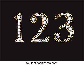 1, 2 and 3 Diamond Jeweled Font