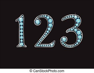 1, 2 and 3 in Aquamarine Jeweled Font Jeweled Font with Silver Channels