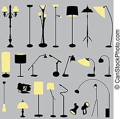 1-2, lámparas, colección