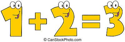 1, 2, równa się, 3, liczba, plus